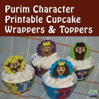 Purim Character Cupcake Wrappers + Toppers