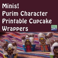 Mini Purim Character Cupcake Wrappers