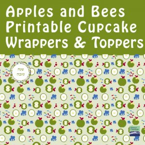 Green Apples and Bees Cupcake Wrappers + Toppers
