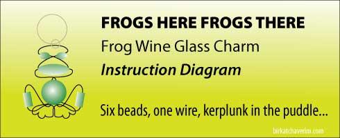 Frog Bead wine charm birkat chaverim