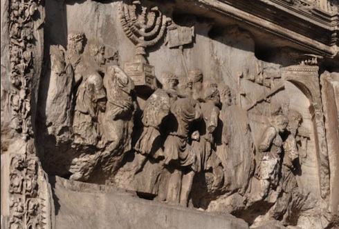 What color was the Menorah on the Arch of Titus? An international project led by Dr. Fine, Yeshiva University has been working to determine this and create a 3d image of the panel. via birkat chaverim. Images courtesy Professor Fine, Yeshiva University