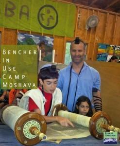 The Bnei Akiva Bencher in Use: Celebrating Bar Mitzvah at Camp Moshava IO. Photo Courtesy Leibowitz family.