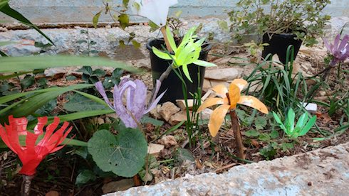 tu bshvat garden with recycled plastic bottle flowers