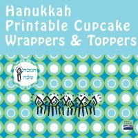 Hanukkah Cupcake Wrappers + Toppers- Blue Green