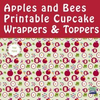 Maroon Apples and Bees Cupcake Wrappers + Toppers