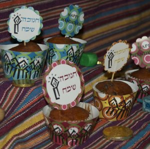 Hanukkah Cupcake Wrappers + Toppers- Three Designs in One