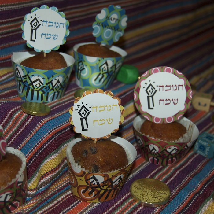 Hanukkah Cupcake Wrappers + Toppers- Maroon - Click Image to Close