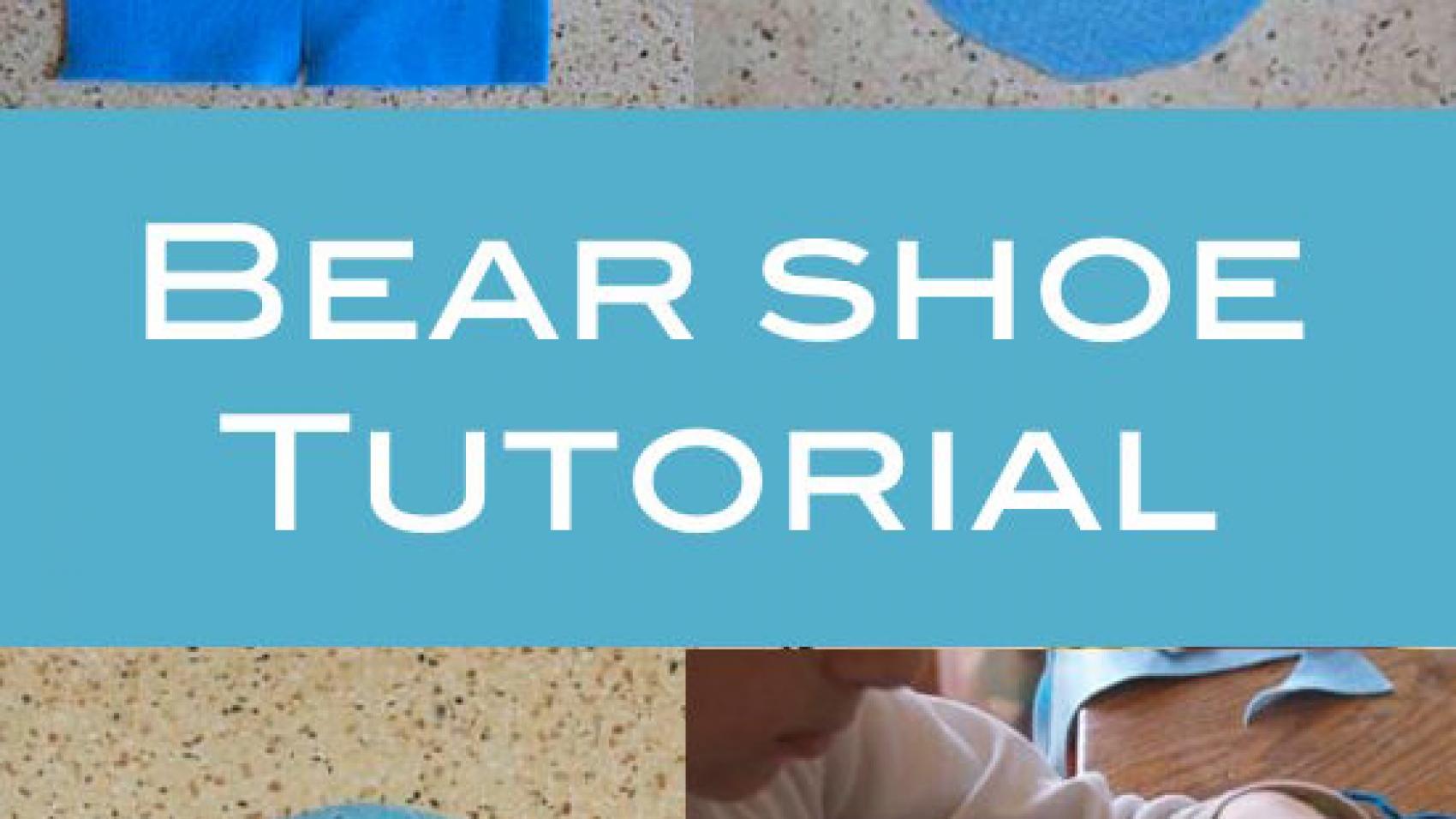 Felt shoe elements as backdrop for text bear shoe tutorial