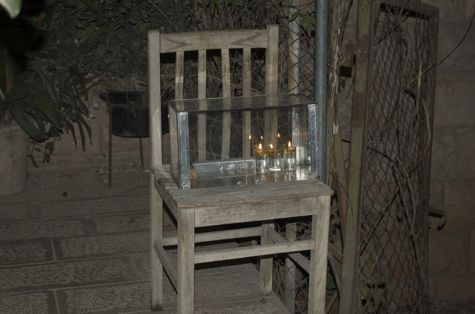 Hanukkah lamp on chair