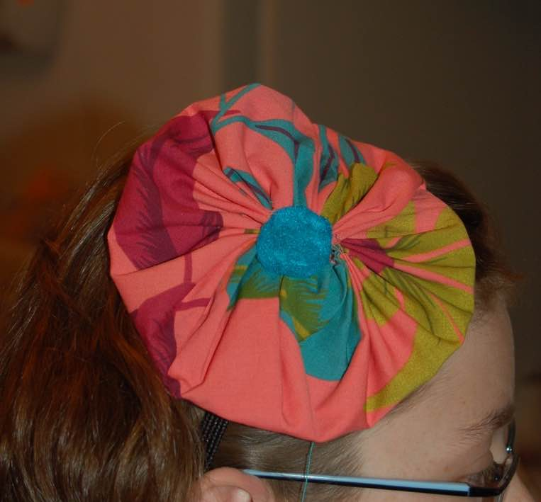 child made large fabric flower barrette