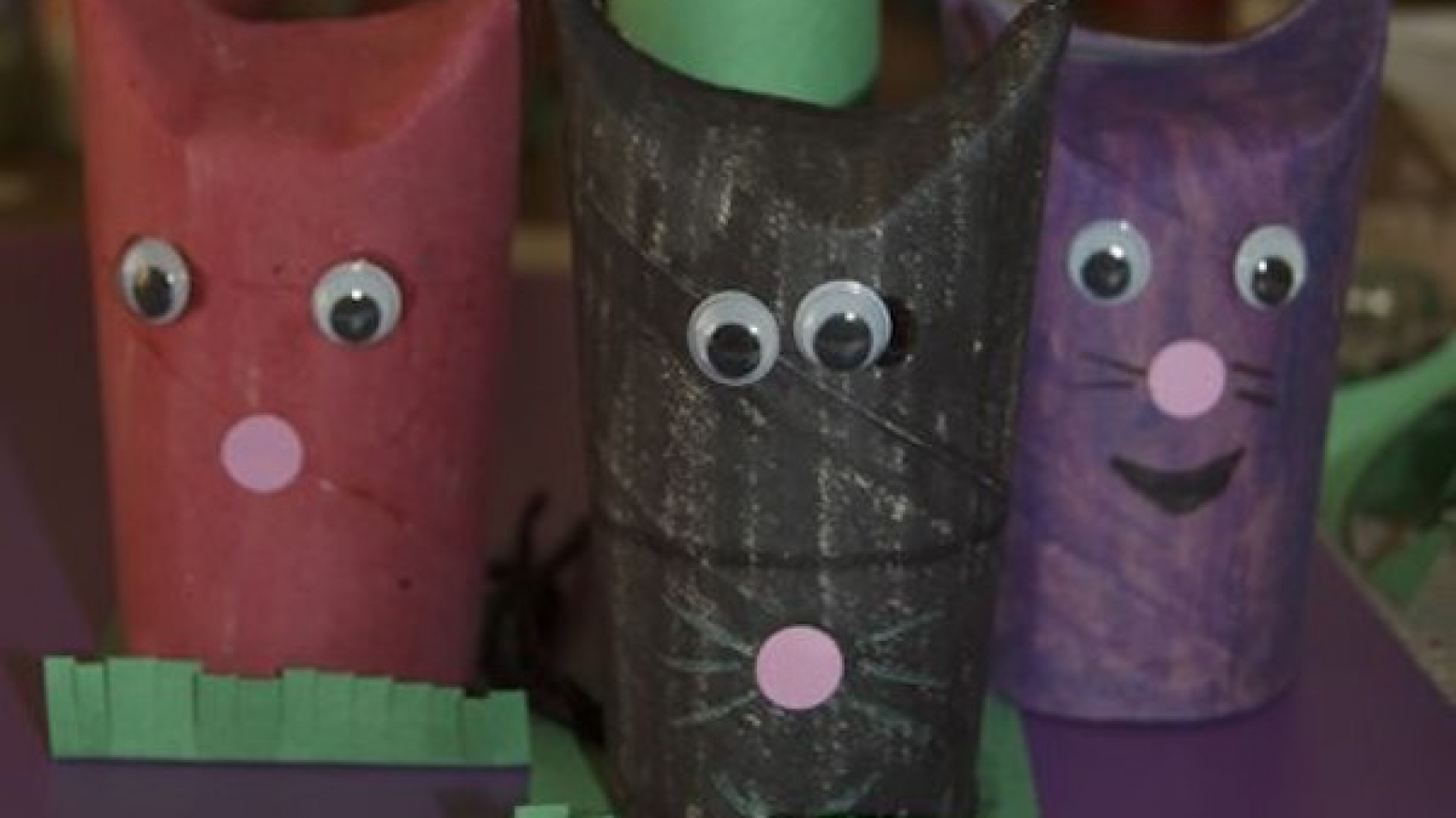 detail of toilet paper roll cats