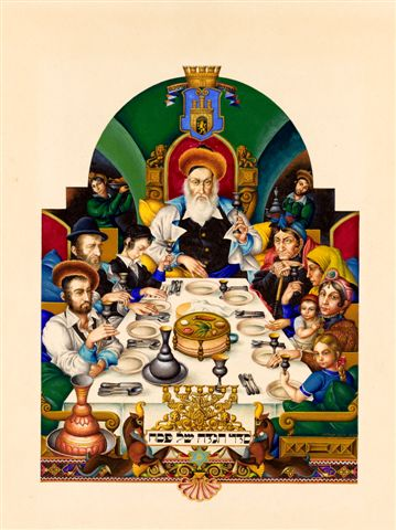 p02 Arthur Szyk The Family at the Seder The Szyk Haggadah Lodz 1936 courtesy Historicana