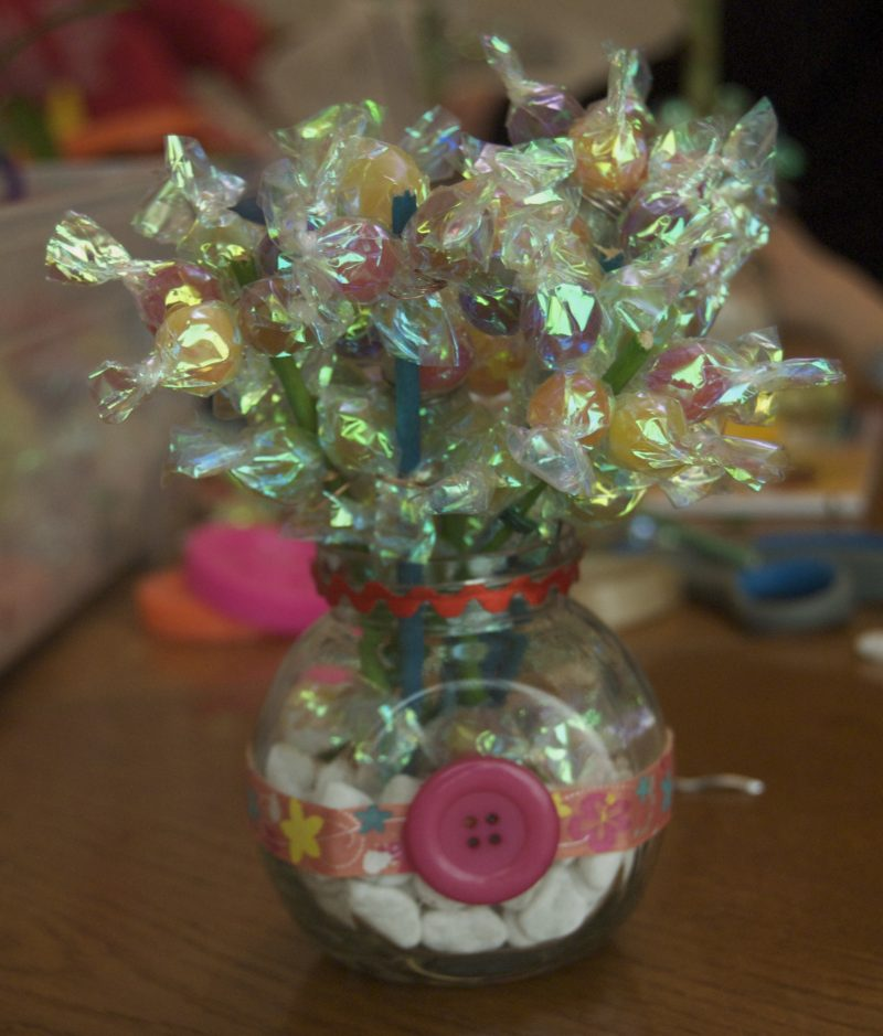 Candy and Lucky Bamboo Flower Arrangement Tutorial • Birkat