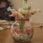Finished candy flower arrangement