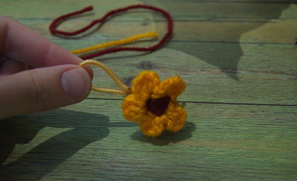 handmade yellow crocheted flower