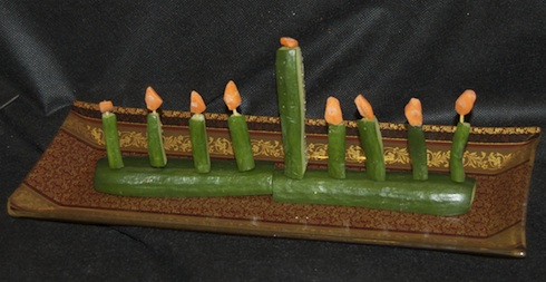 cucumber menorah from birkat chaverim