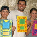 Kol Haot Students Show off their papercuts Havdala mats Photo Courtesy Kol Haot via Birkat Chaverim