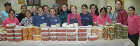 Bat Mitzvah program participants packing food. A unique aspect of the program is doing chesed with Melabev center participants. Melabev is a day care center for elders diagnosed with dementia such as alzheimers. Guest post about Melabev's bar and bat mitzvah program with participants of the day care center for elders with dementia. The program both teaches the children about chesed and gives them an opportunity to interact with their elders.Photo courtesy Melabev via birkat chaverim