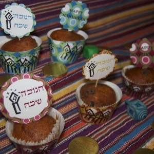 hanukkah cupcake wrappers and toppers via birkat chaverim