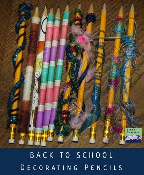 Back To School Decorating Pencils with Kids via Birkat Chaverim