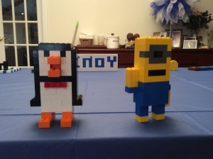 Aren't these cute? Lego Penguin and Despicable Me character as part of a Lego Museum charity fundraiser for a bat mitzvah project.