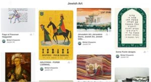 Screenshot of the Jewish Art Collaborative Pinterest Board from Birkat Chaverim