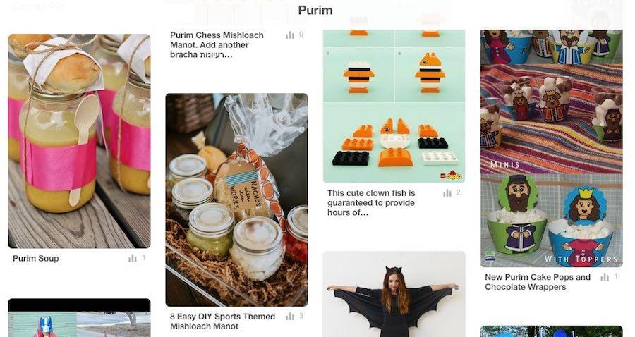 Screenshot of the Purim Birkat Chaverim Pinterest Board