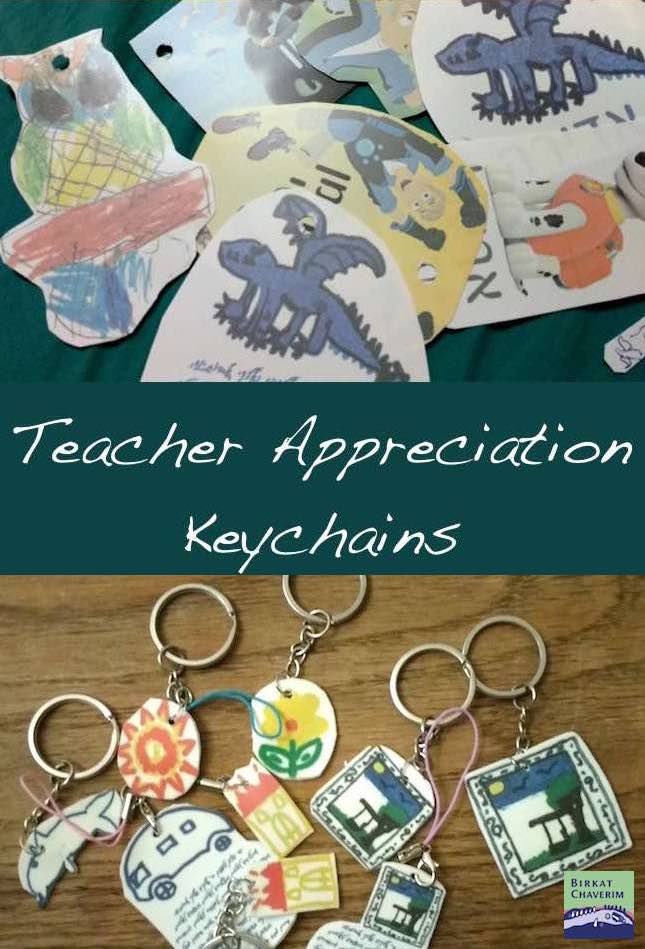 key chains from shrink plastic with text Teacher appreciation keychains