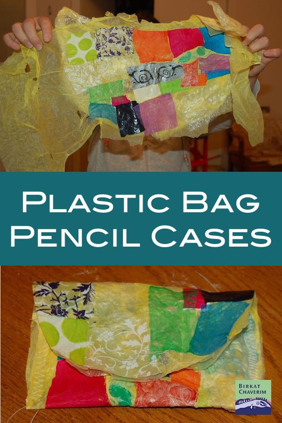 Two images in the process of making plastic bag pencil cases with text plastic bag pencil cases.