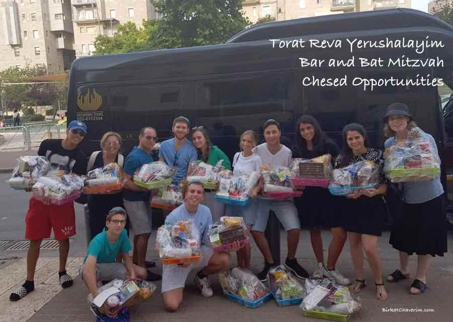 A group delivering packages on a Bar Mitzvah trip with Torat Reva Yerushalaim
