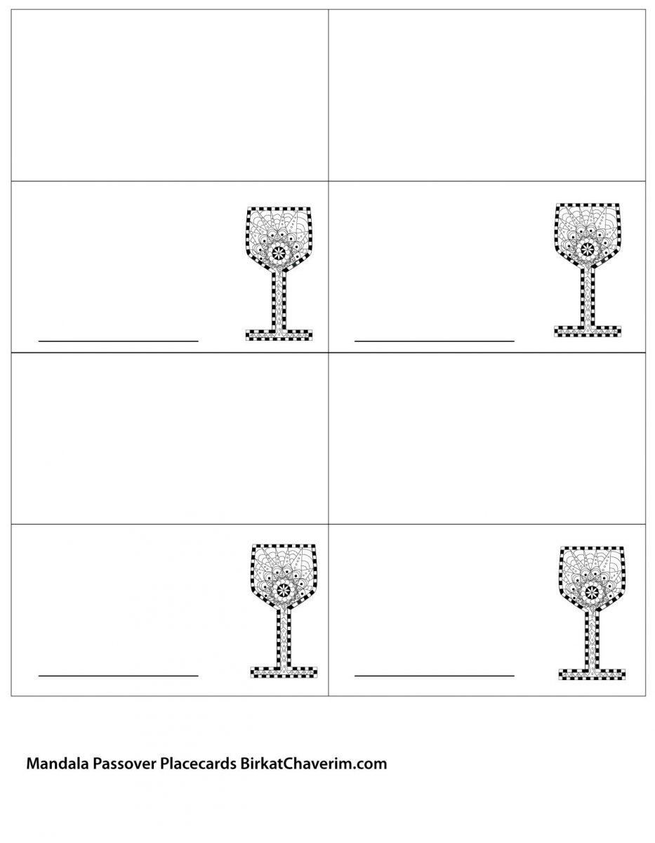 Passover Kiddush Cup mandala placecards