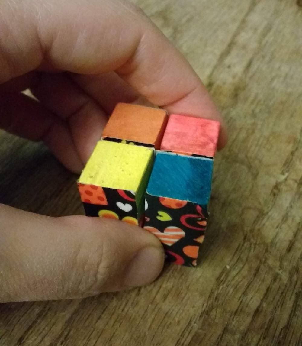 mini infinity cube multicolored and kid made.