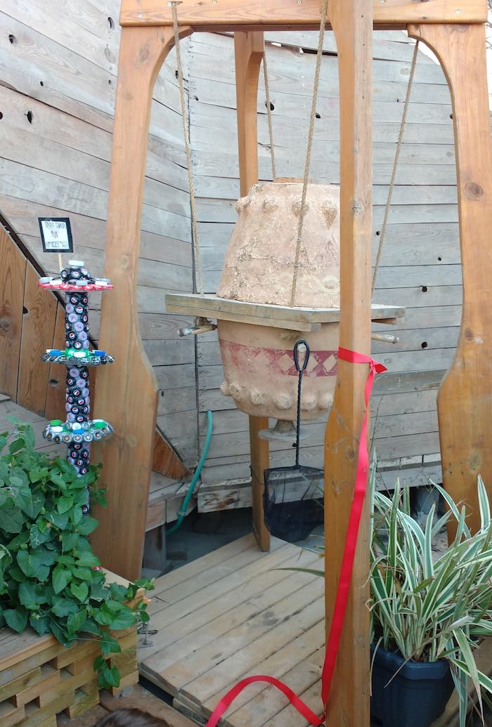 Bee bar and recycled sculpture at Propolis.